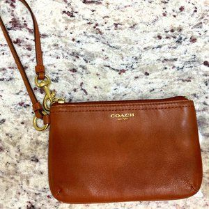 Coach Brown Polished Pebble Leather Wristet